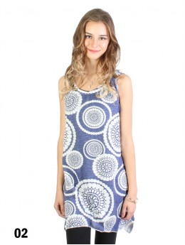 Circles Print Flowy Button Shoulder Top