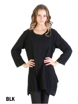 Solid High-Low Long Sleeved Top