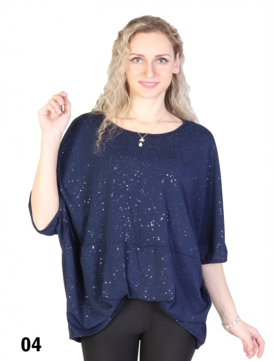 Front-Gathered Mid Sleeved Sparkle Top