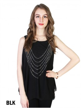 Arched Rhinestone Chiffon Top