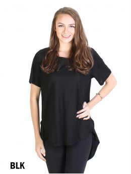 Perfect Soft High- low Short-Sleeve Blouse