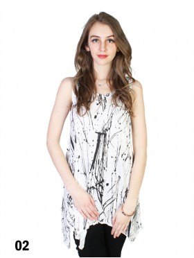 Splash-ink Loose-Fitting Top W/ Button Detail