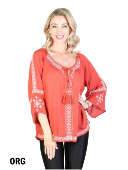 Vintage Bohemian Embroidered Tops