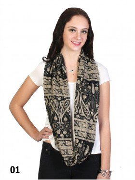 Two Tone Paisley Print Loop Scarf