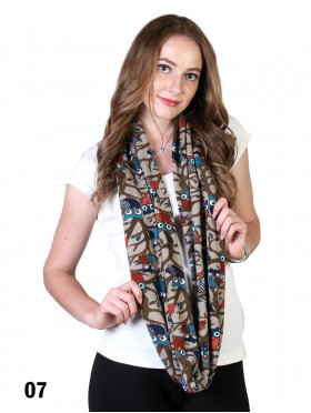 OWL & BRANCH PRINT LOOP SCARF