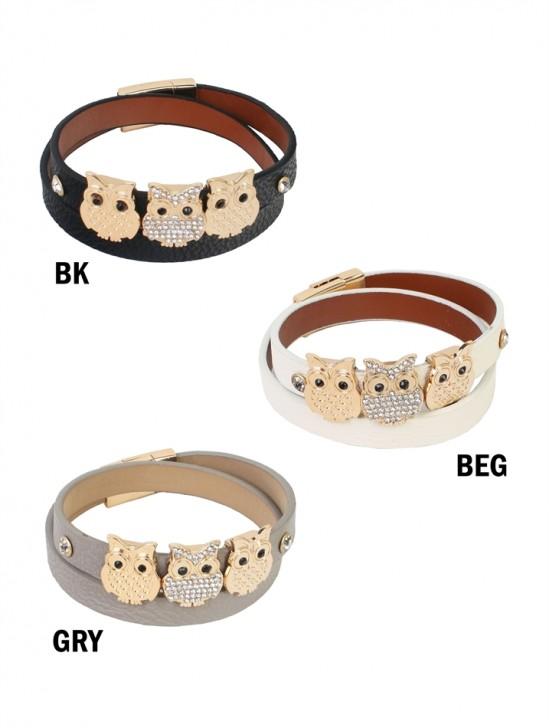Multi  Wrap Magnetic Bracelet W/ Owl Pendants