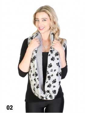 PUPPY FOOTPRINT LOOP SCARF