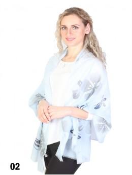 Butterfly Print Fashion Scarf W/ Pearl