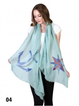 ANCHOR & COMPASS PRINT SCARF
