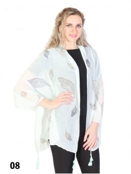 Leaf Print Tassels Fashion Scarf W/ Pearl