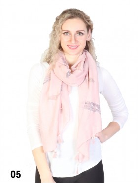 Feather Print Tassels Fashion Scarf W/ Pearl
