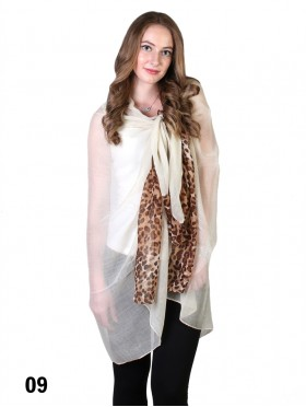 COLOUR BLOCK LEOPARD END LINEN SCARF