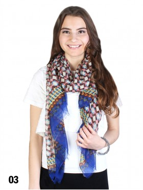 Checker Print Scarf With Color Edge