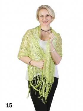 Sequined Flower Mesh Scarf W/ Fringe