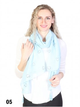 Heart Print Tassels Fashion Scarf W/ Pearl