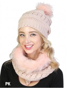 Fashion Knitted Furry Set W/ (Scarf, Hat)