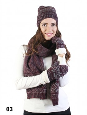 Fashion Knitted Diamond Patterned Set (Scarf, Hat, Gloves)