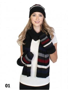 Knitted Colour Stripes Set W/ Pom Pom (Scarf, Hat, Gloves)