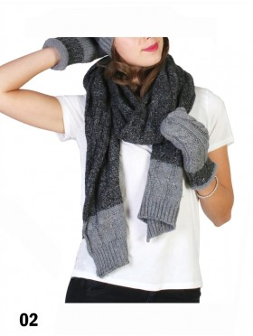 Fashion Two Tone Knitted Set (Scarf, Gloves)