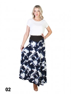 Abstract Checkered A-Line Midi Skirt