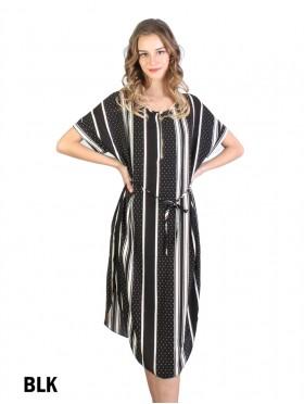 Stripe & Dots Print Dress W/ Belt & Zipper