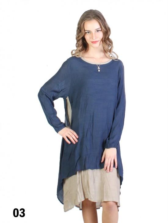 Layered 2-Tone Long-Sleeve Shift Dress