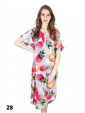 Pinapple Print Dress W/ Belt & Zipper