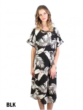 Feather Print Dress W/ Belt & Zipper