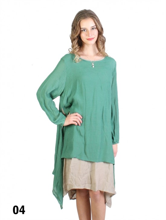 Layered 2-Tone Long-Sleeve Shift Dress