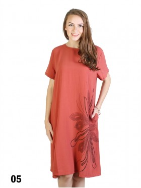 Simple Design Flower Print Dress W/ Pocket