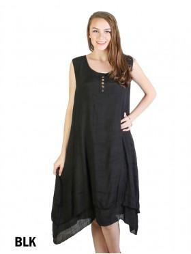 Layered Sleeveless Shift Dress W/ Button