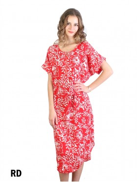 Floral Print Dress W/ Belt & Zipper