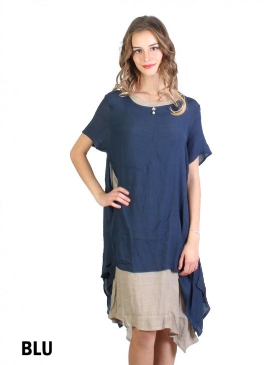 Layered 2-Tone Short-Sleeve Shift Dress