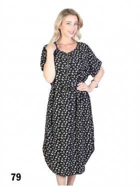 Zig Zag Print Dress W/ Belt & Zipper