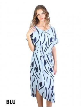 Scrambled Print Dress W/ Belt & Zipper