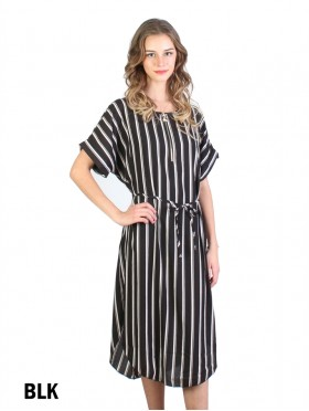 Vertical Strip Print Dress W/ Belt & Zipper