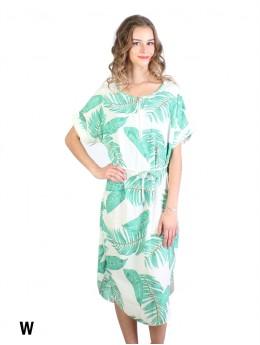 Feather Print Dress W/ Belt & Zipper