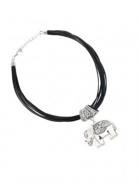 Multi-Rope Necklace W/ White Elephant Pendant