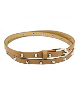 SLIM FAUX LEATHER BELT WITH STUDS