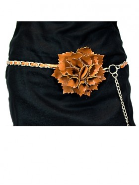 CHAIN BELT ROPED WITH FAUX LEATHER AND ATTACHED FLOWER