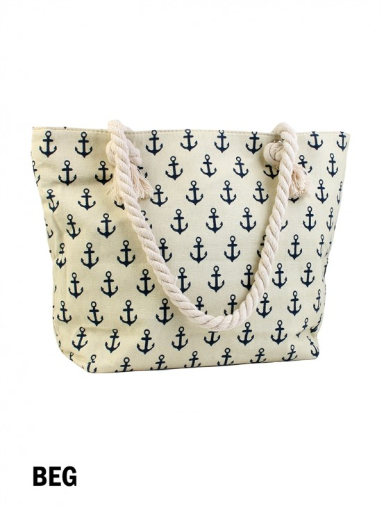 Canvas Nautical Anchor Shoulder Tote