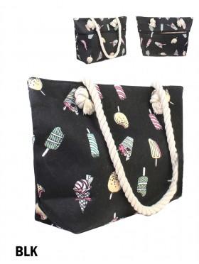 Ice Cream Shoulder Tote W/Zipper Pocket