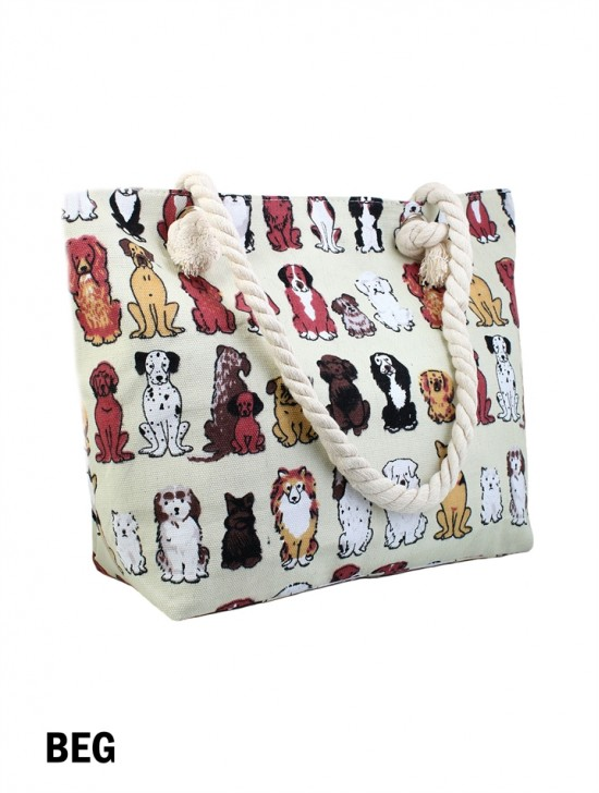 CANVAS PUPPY SHOULDER TOTE