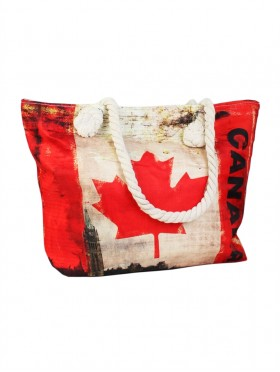 Canvas Canada Print Shoulder Tote