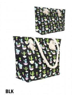 Cactus Shoulder Tote W/Zipper Pocket