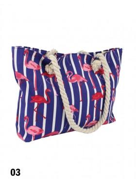 Canvas Flamingo Shoulder Tote