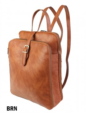 Faux Leather Laptop Backpack W/ Multiple Compartments