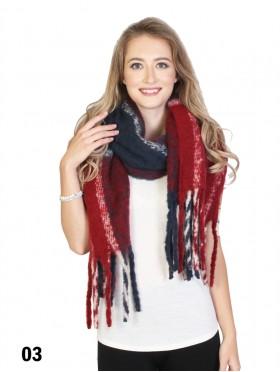 Plaid Winter Blanket Scarf W/ Stripes