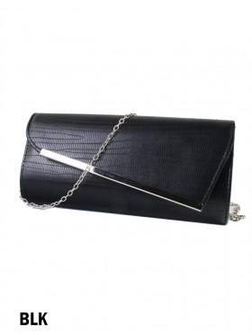 Asymmetrical Faux Leather Evening Clutch W/ Charm