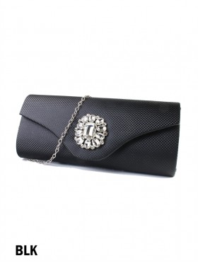 Shiny Evening Clutch W/ Rhinestone Flower